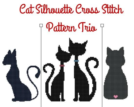 Cat Silhouette Cross Stitch Pattern Trio Previews