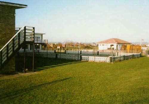 View across the Motel showing the Dymchurch wing removed, and pool fenced for safety