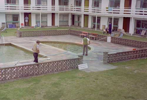 Cleaning the pools, August 1980