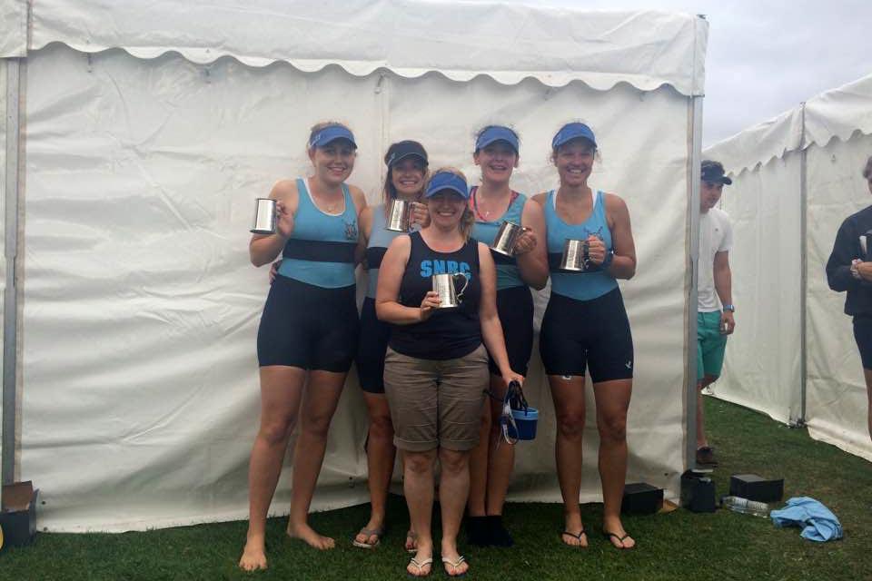 Winning W.Nov.4+ crew (left to right): Hannah Towns, Dominie Clarke, Tammy Finnigan (cox), Tash Holdaway and Jaione Echeveste.