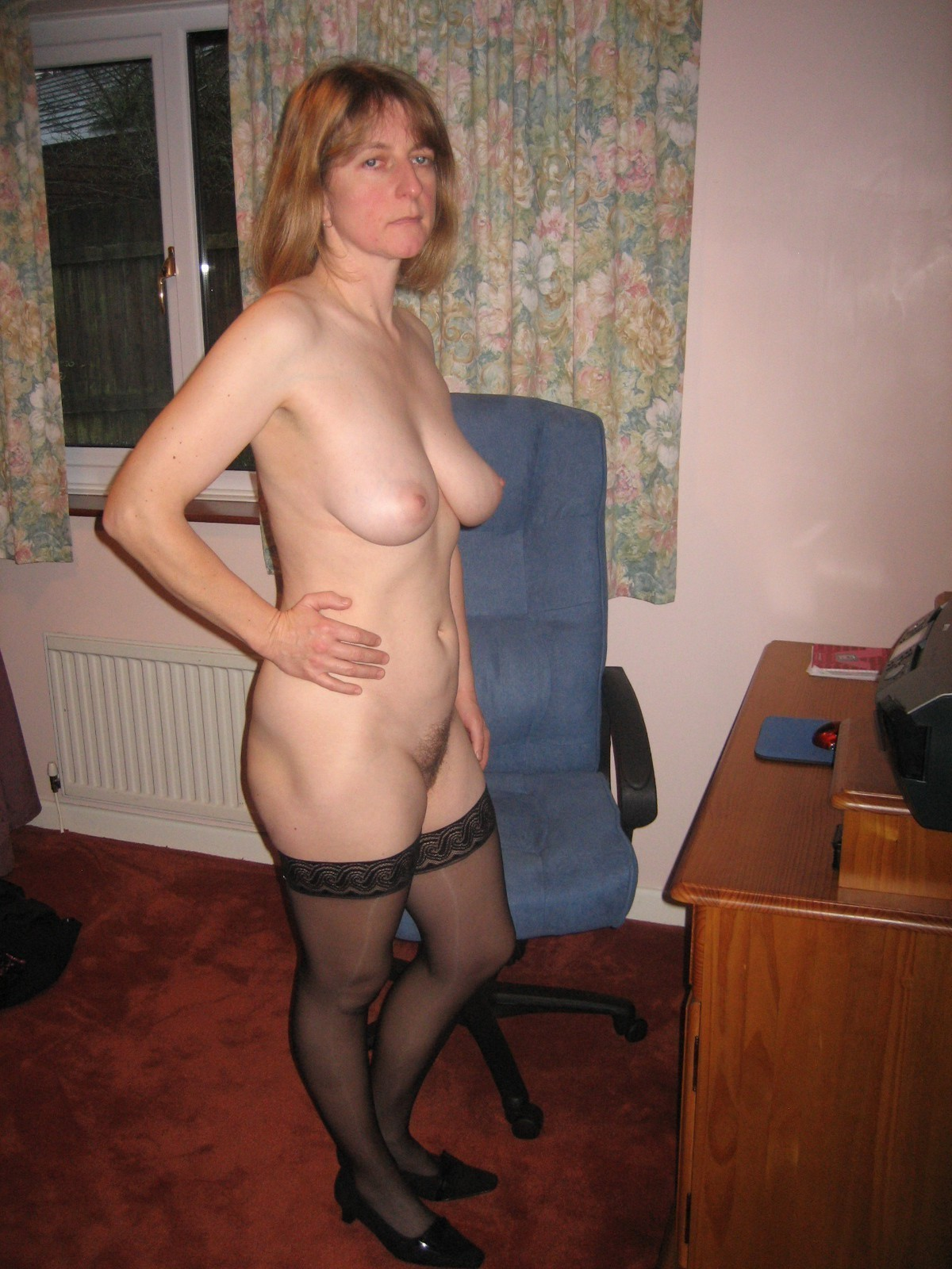 elegant mature lady black stockings