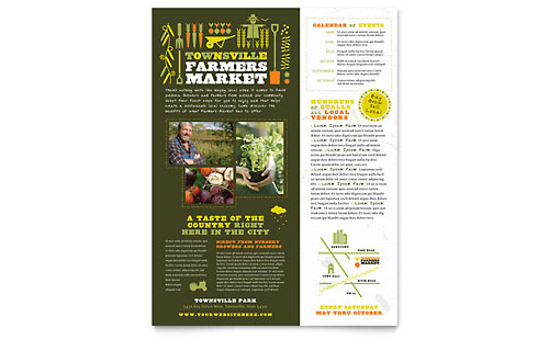 Food   Beverage Leaflets   Templates   Design Examples Farmers Market Flyer Template