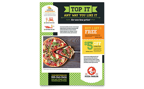 Food   Beverage Leaflets   Templates   Design Examples Pizza Parlor Flyer