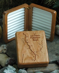 East Branch Penobscot River Map Fly Box - Cherry Wood