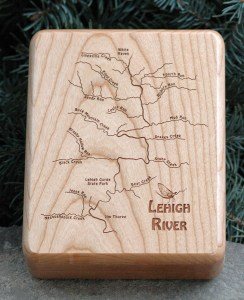 Lehigh River Map Fly Box Front - Cherry Wood