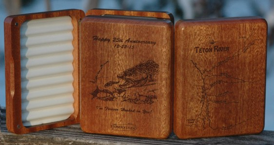 Teton River Map Fly Box with Personalized Back - Fly Fishing Idaho