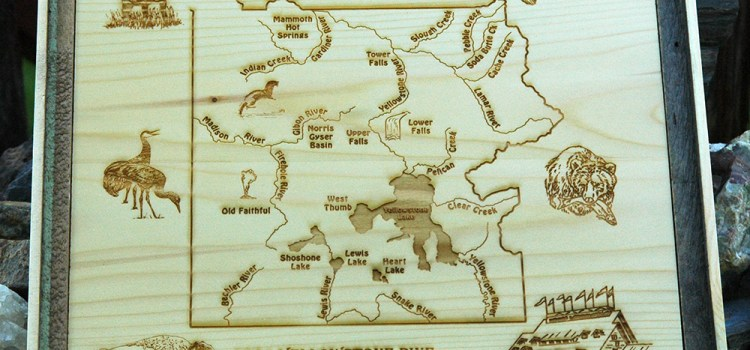 YELLOWSTONE NATIONAL PARK RIVER MAP WILDLIFE PLAQUE – Handcrafted from Old Faithful Inn Tongue and Groove Paneling recovered from the Inn during its renovation 2004-2010.