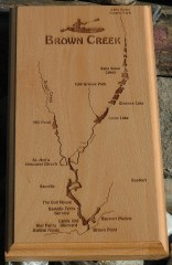 Brown Creek River Map Kayak Plaque