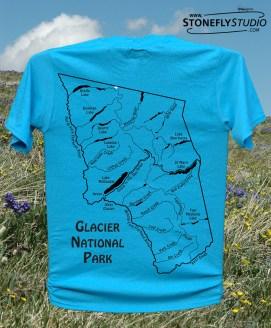 Glacier National Park River Map T-Shirt