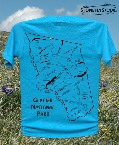 Glacier National Park River Map T-Shirt