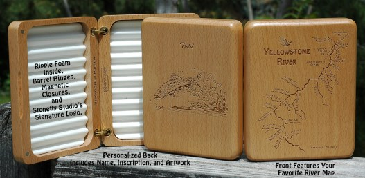 Stonefly Studio's River Map Fly Boxes Include River Map Front and Personalized Back.