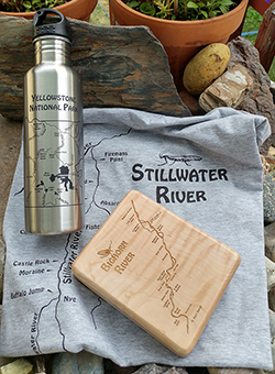 STONEFLY STUDIO GIFT SET – SAVE 15% When You Buy All 3 – Custom Handcrafted River Map Fly Box, Cold Beer Bottle Holder, Adventure Tee.  Sale – January 2018.  Choose Your River – Personalized for Free!!
