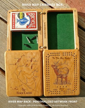 Personalized River Map Cribbage Box