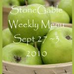 Weekly Menu~ September 27~ October 3, 2010 and PreParty Hoopla!