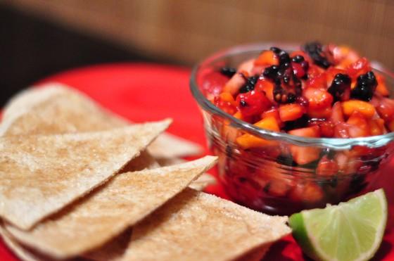 cinnamon sugar chips with sweet fruit salsa (kiwi, strawberries, apples, raspberries or blueberries)