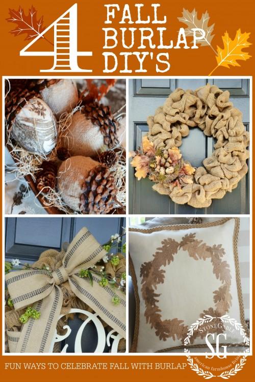 4FALL BURLAP DIY'S - creative ways to celebrate fall with burlap-stonegagbleblog