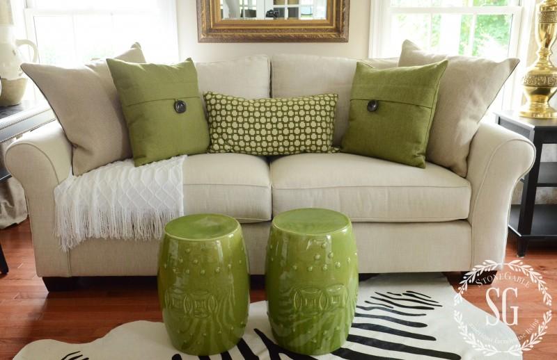 sofa pillows- green pillows with white throw-stonegableblog.com