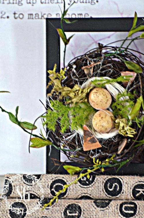 SPRING MANTEL-spring nest-stonegableblog.com