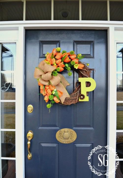 SPRING TULIP WREATH DIY-orange parrot tulip-spring wreath-stonegableblog.com