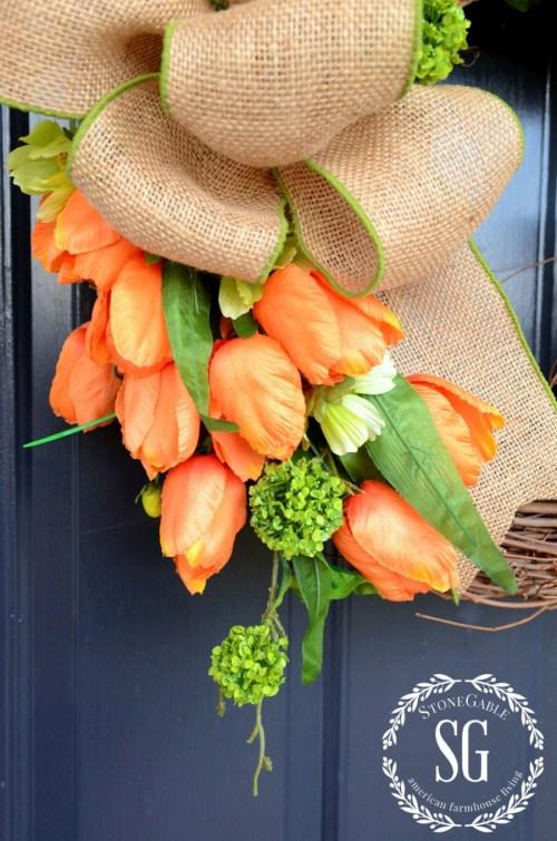 SPRING TULIP WREATH-orange and green flowers-stonegableblog.com