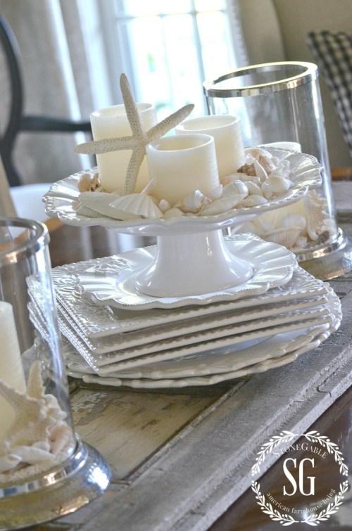 SUMMER HOME TOUR-Dining room-candles-shells-stonegableblog.com