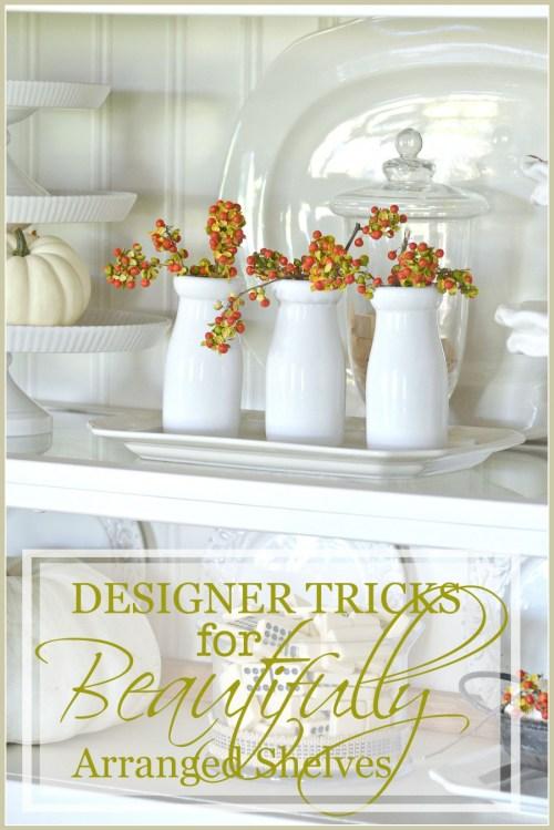 DESIGNER TRICKS FOR BEAUTIFULLY ARRANGED SHELVES-stonegableblog.com