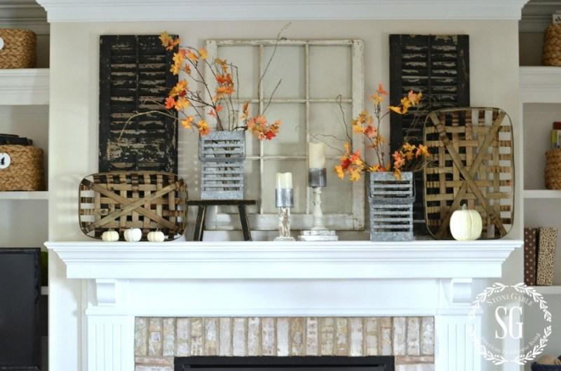 FALL MANTEL- FARMHOUSE STYLE-mantel-white pumpkins-stonegableblog.com