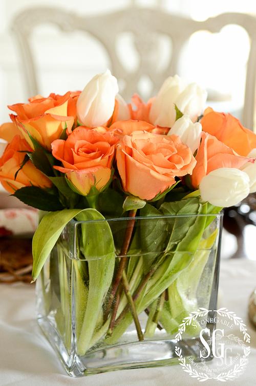 10 TIPS FOR EASY ENTERTAINING-glass cube-flowers-stonegableblog.com