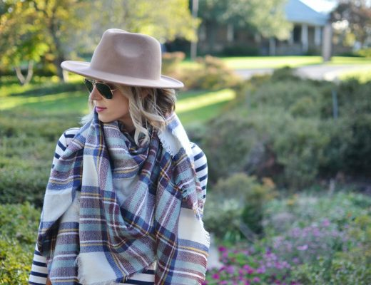 Striped top, plaid blanket scarf, tan hat
