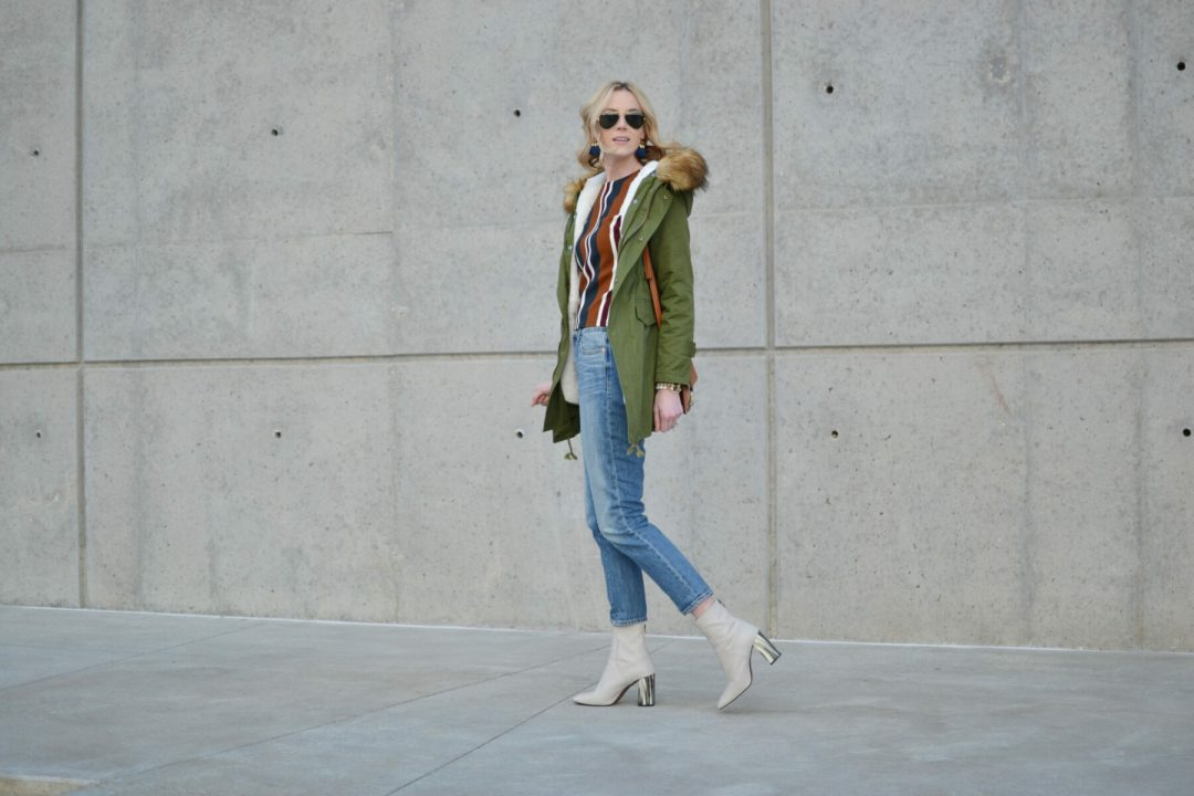 chicwish striped top, mom jeans, army green parka, topshop cream boots, chloe dupe bag, ray-ban aviators