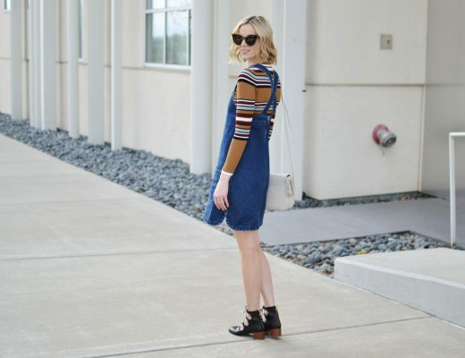 overall dress, striped top, Karen Walker sunglasses, lace up block heel shoes