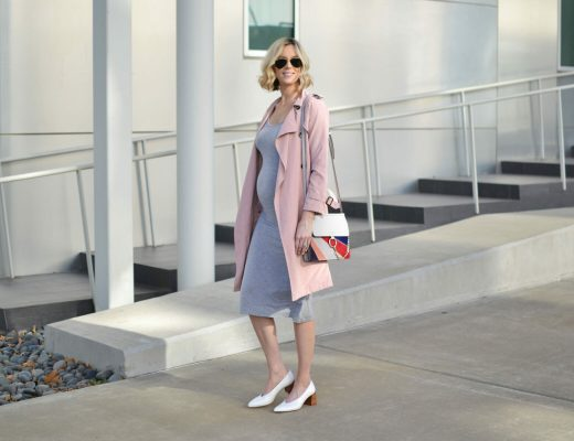 grey-midi-dress-blush-trench-coat