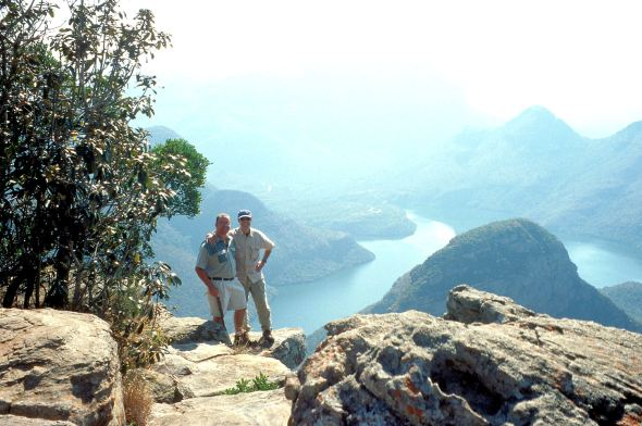 Adriano and our guide, Nico on the edge of Blyde River Canyon in Africa