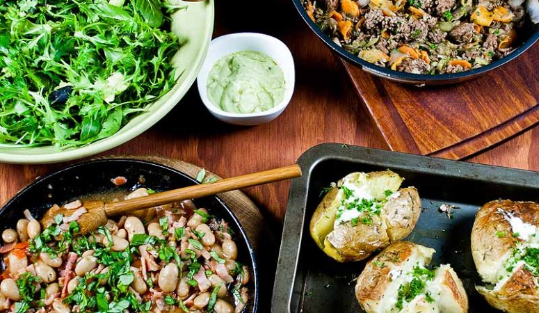 Jamie's 30 Minute Beef Hash & Jacket Potatoes