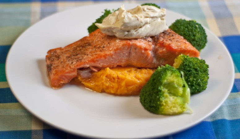 Baked Salmon & Anchovy Mayonnaise – low Fodmap & gluten-free