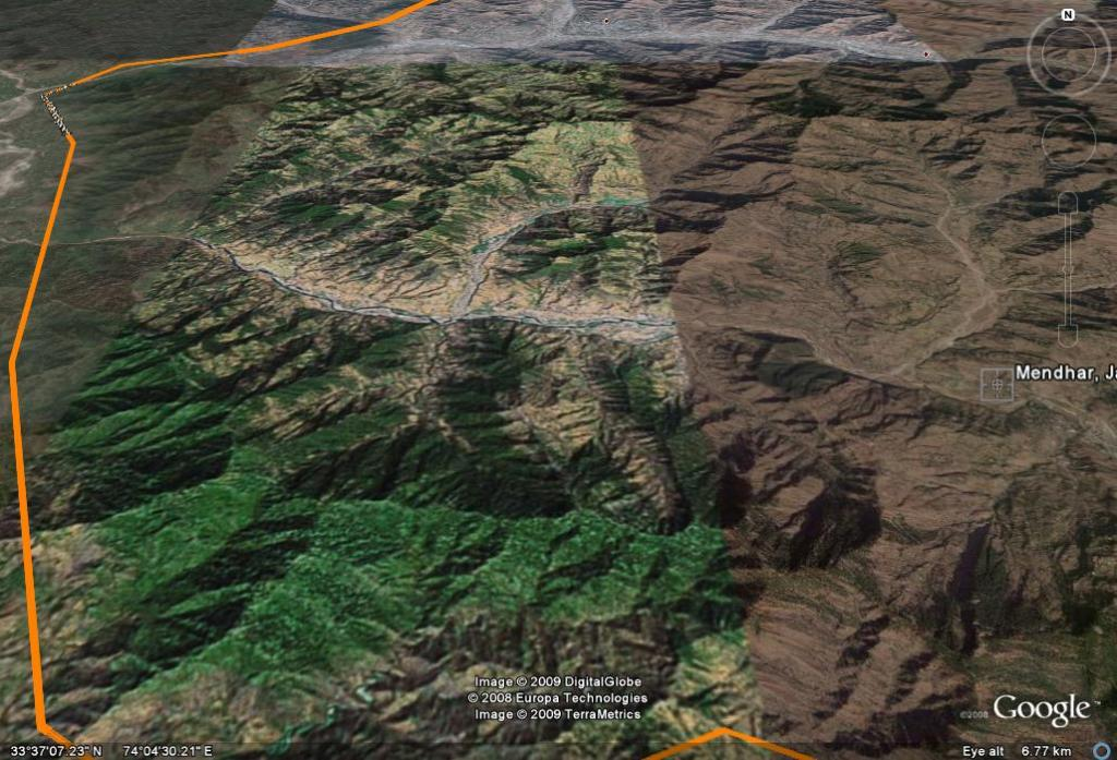 The area of Operation. The red dot on top is Poonch town and the yellow line is the Line fo Control.
