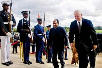US Defense Secretary Robert M. Gates escorts Indian Defense Minister Arackaparambil Kurian Antony through an honor cordon into the Pentagon, September 28, 2010. US Department of Defense photo by Cherie Cullen.