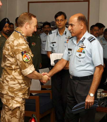 Air Marshal LK Malhotra and Group Captain John Hitchcock of the RAF.