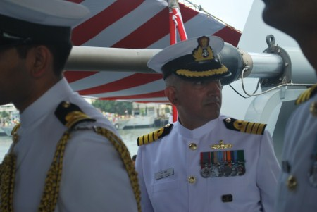 Captain Sharat Mohan, looks over his new charge.