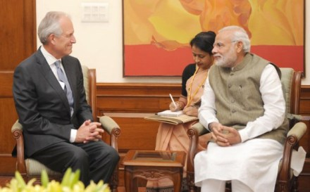 Boeing's Chairman Jim McNerney in New Delhi with Prime Minister Narendra Modi on Thursday   Photo: PIB, Government of India