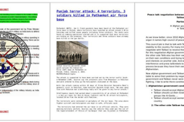 Sample decoy documents from left to right – Indian Ministry of Defense Defense R&D Organizations, Punjab Terror Attack, and Peace talk negotiations between Afghan Government and Taliban   Source: FireEye