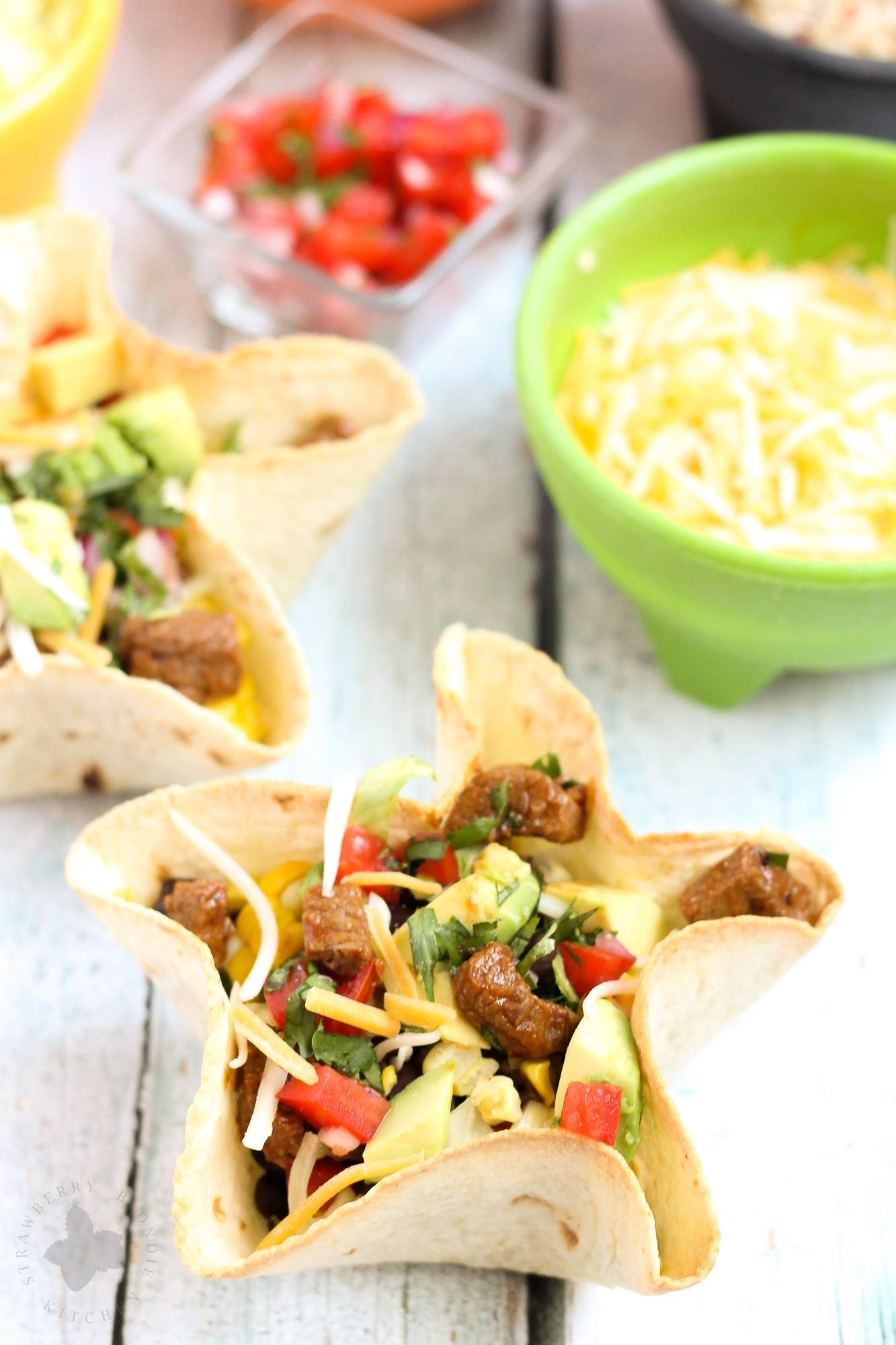 BBQ Steak Taco Salads with Homemade Tortilla Bowls | Strawberry ...