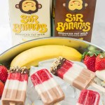 Layers of fresh strawberries, Sir BananamilkTM, and Sir Chocolate BananamilkTM make these Banana Split Popsicles irresistible to both adults and children alike. | Strawberry Blondie Kitchen