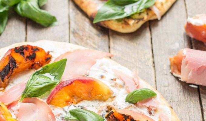 Grilled Peach, Prosciutto and Goat Cheese Pizza