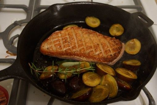 Skillet Roasted Duck Breast with Italian Plums