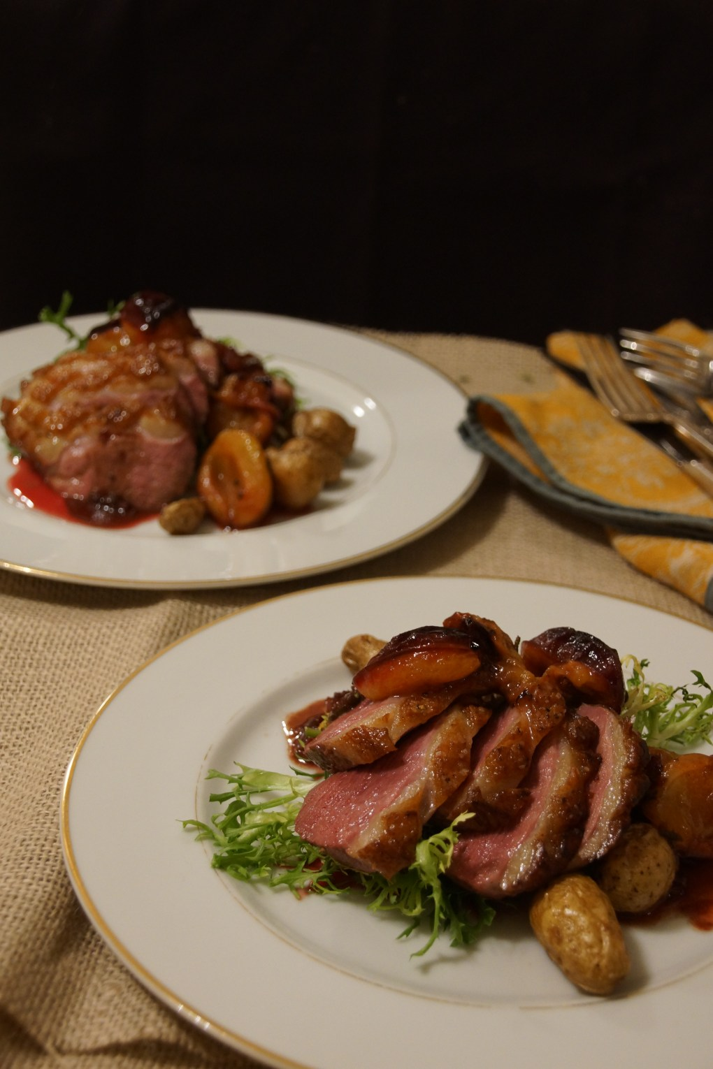 Skillet Roasted Duck Breasts with Italian Plums