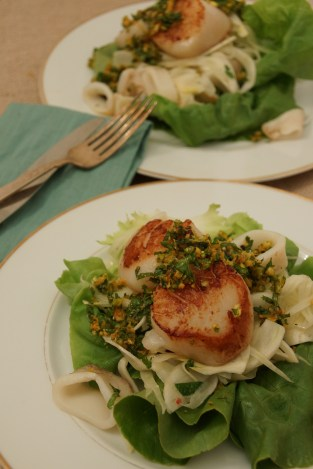 Scallop & Calamari Salad with Orange-Pistachio Gremolata