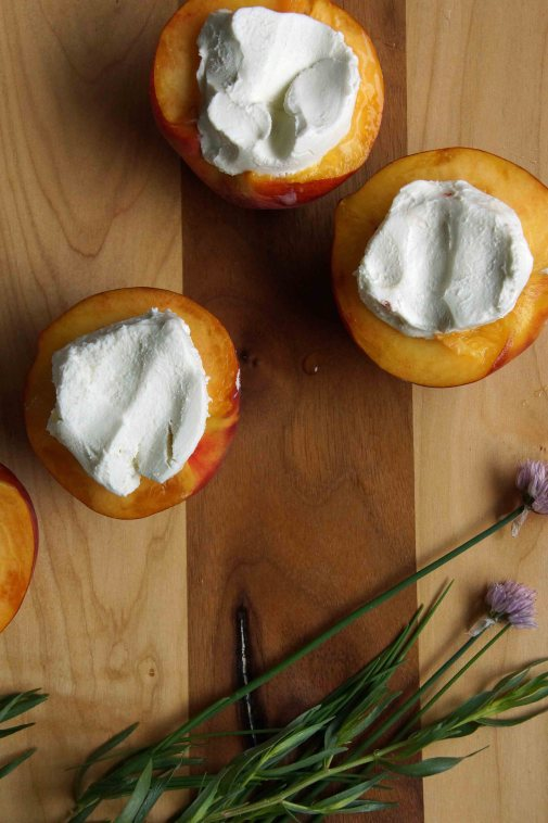 Chevre stuffed Peaches