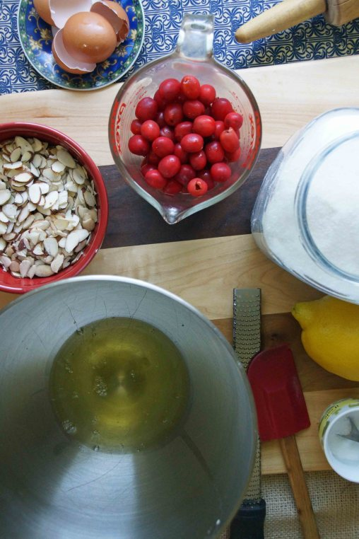 Almond Meringue Ingredients & Cherries