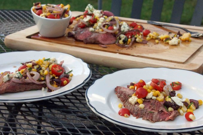 Grilled Flank Steak with Corn, Tomato & Olive Relish